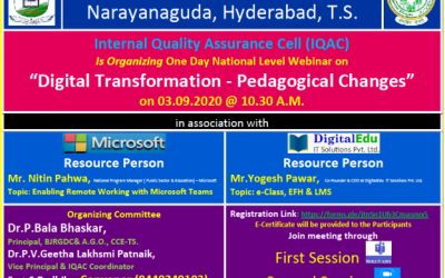 National Webinar On Digital Transformation- Pedagogical Changes